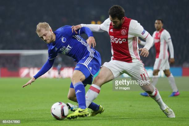 Nicolai Boilesen of FC Kopenhagen Amin Younes of Ajaxduring the UEFA Europa League round of 32 match between Ajax Amsterdam and FC Copenhagen at the...