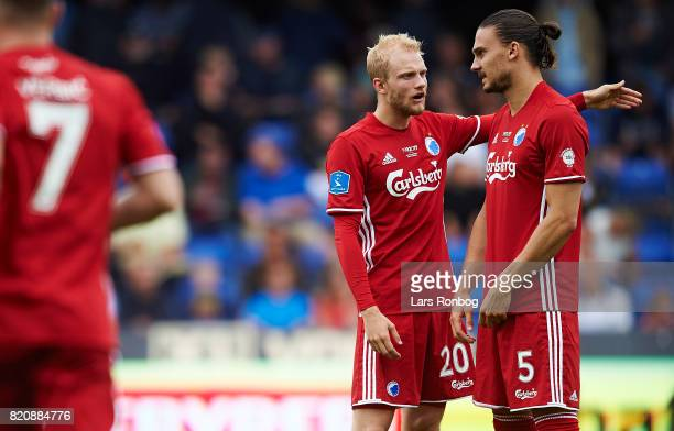 Nicolai Boilesen speaks to Erik Johansson of FC Copenhagen during the Danish Alka Superliga match between Randers FC and FC Copenhagen at BioNutria...