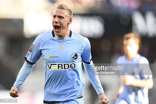Nicolai BrockMadsen of Randers FC celebrating after his 10 goal during the Danish Alka Superliga match between Randers FC and FC Nordsjalland at...