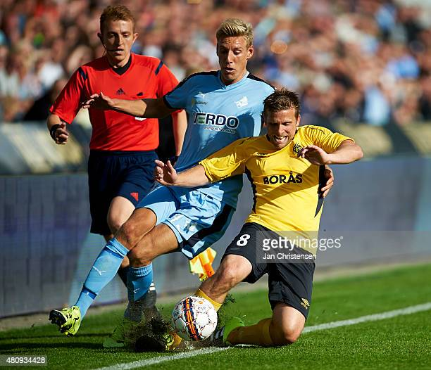 Nicolai BrockMadsen of Randers FC compete for the ball during the UEFA Europa League Qual 2 Round 1 Leg between Randers FC and IF Elfsborg at AutoC...