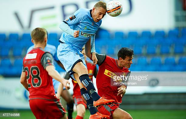 Nicolai BrockMadsen of Randers FC heading the ball during the Danish Alka Superliga match between Randers FC and FC Nordsjalland at AutoC Park...