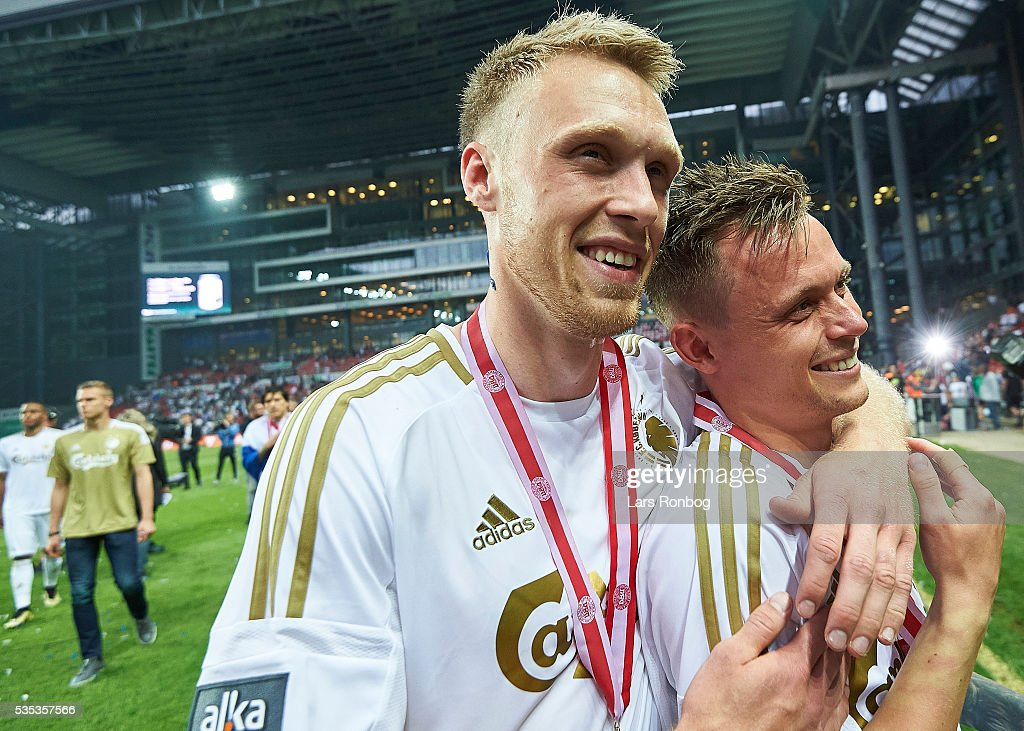 Nicolai Jorgensen and Peter Ankersen of FC Copenhagen celebrate as Danish Champions 2015/2016 after the Danish Alka Superliga match between FC Copenhagen and AGF Aarhus at Telia Parken Stadium on May 29, 2016 in Copenhagen, Denmark.