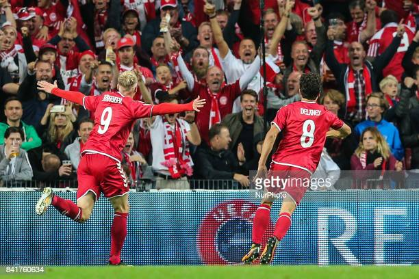 Nicolai Jorgensen celebrates a goal during the FIFA 2018 World Cup Qualifier between Denmark and Poland at Parken Stadion on September 1 2017 in...