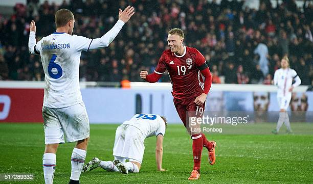 Nicolai Jorgensen of Denmark celebrates after scoring their first goal during the international friendly match between Denmark and Iceland at MCH...