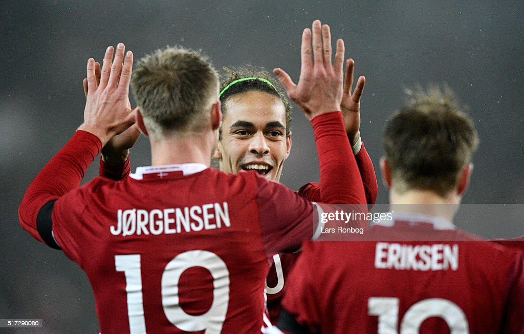 Nicolai Jorgensen of Denmark celebrates with Yussuf Yurary Poulsen after scoring their second goal during the international friendly match between Denmark and Iceland at MCH Arena on March 24, 2016 in Herning, Denmark.