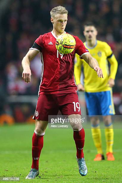 Nicolai Jorgensen of Denmark controls the ball during the UEFA EURO 2016 Qualifier PlayOff Second Leg match between Denmark and Sweden at Parken...