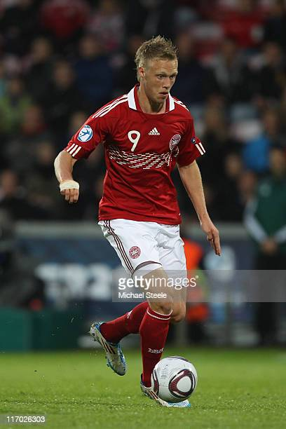 Nicolai Jorgensen of Denmark during the UEFA European Under21 Championship Group A match between Iceland and Denmark at the Aalborg Stadium on June...