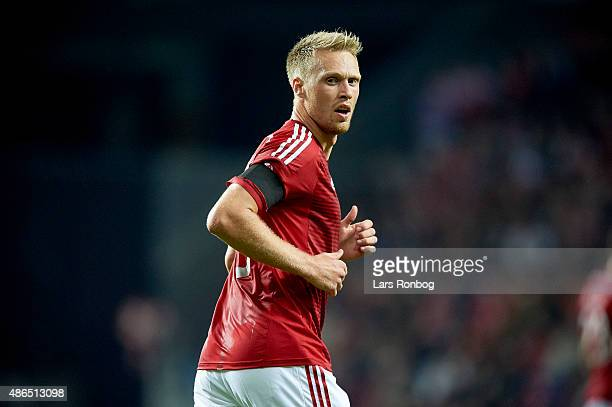 Nicolai Jorgensen of Denmark looks on during the UEFA EURO 2016 Qualifier match between Denmark and Albania at Telia Parken Stadium on September 4...