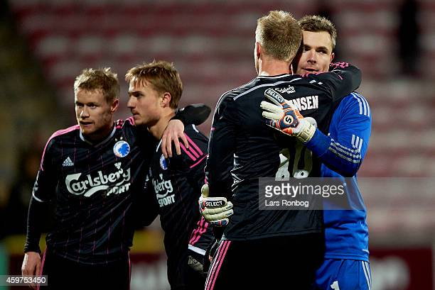 Nicolai Jorgensen of FC Copenhagen and team mate Stephan Andersen celebrate their victory after the Danish Superliga match between AaB Aalborg and FC...