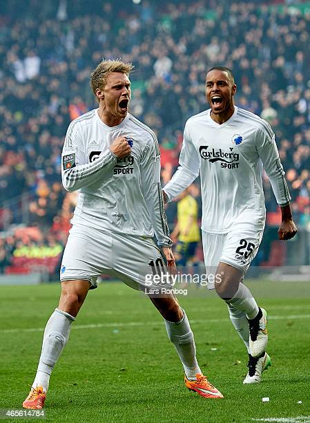 Nicolai Jorgensen of FC Copenhagen celebrates after scoring their second goal during the Danish Superliga match between FC Copenhagen and Brondby IF...