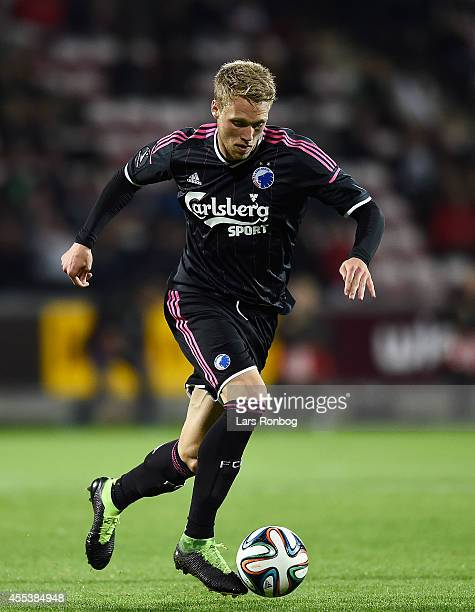 Nicolai Jorgensen of FC Copenhagen controls the ball during the Danish Superliga match between AaB Aalborg and FC Copenhagen at Nordjyske Arena on...