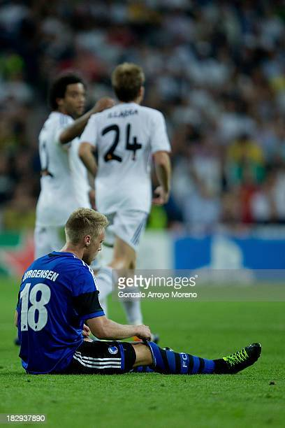 Nicolai Jorgensen of FC Copenhagen lies on the ground during the UEFA Champions League group B match between Real Madrid CF and FC Copenhagen at...