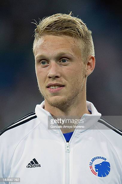 Nicolai Jorgensen of FC Copenhagen prior to the start of the UEFA Champions League group B match between Real Madrid CF and FC Copenhagen at Estadio...