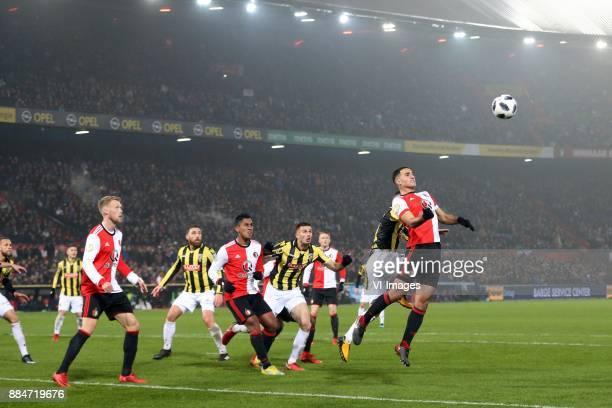 Nicolai Jorgensen of Feyenoord Guram Kashia of Vitesse Renato Tapia of Feyenoord Matt Miazga of Vitesse Sofyan Amrabat of Feyenoord during the Dutch...
