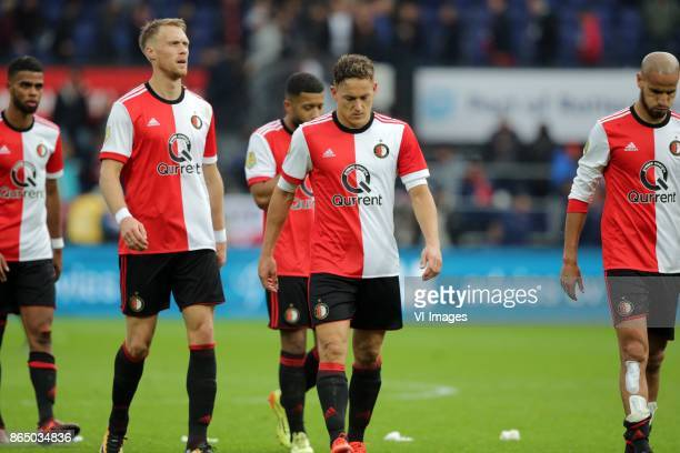 Nicolai Jorgensen of Feyenoord Jens Toornstra of Feyenoord during the Dutch Eredivisie match between Feyenoord Rotterdam and Ajax Amsterdam at the...