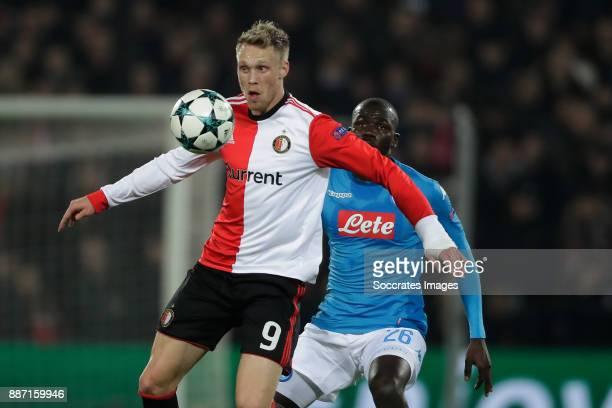 Nicolai Jorgensen of Feyenoord Kalidou Koulibaly of Napoli during the UEFA Champions League match between Feyenoord v Napoli at the Feyenoord Stadium...