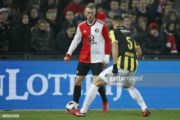 Nicolai Jorgensen of Feyenoord Matt Miazga of Vitesse during the Dutch Eredivisie match between Feyenoord Rotterdam and Vitesse Arnhem at the Kuip on...