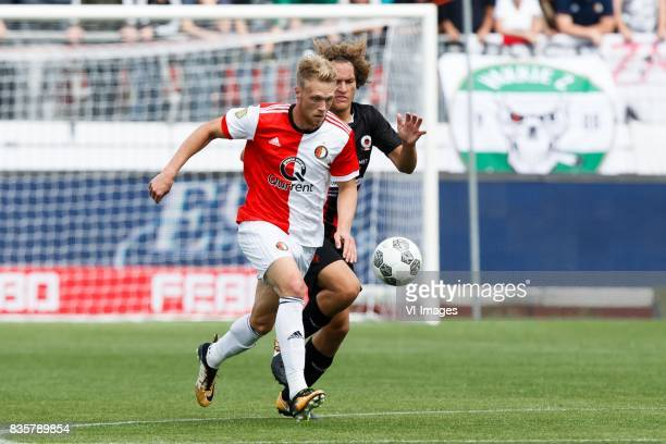 Nicolai Jorgensen of Feyenoord Wout Faes of Excelsior during the Dutch Eredivisie match between sbv Excelsior Rotterdam and Feyenoord Rotterdam at...