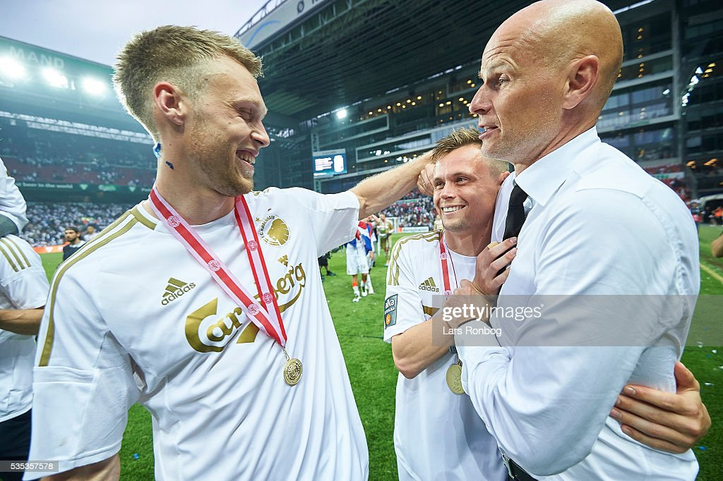 Nicolai Jorgensen, Peter Ankersen of FC Copenhagen and <a gi-track='captionPersonalityLinkClicked' href=/galleries/search?phrase=Stale+Solbakken&family=editorial&specificpeople=2726325 ng-click='$event.stopPropagation()'>Stale Solbakken</a>, head coach of FC Copenhagen celebrate as Danish Champions 2015/2016 after the Danish Alka Superliga match between FC Copenhagen and AGF Aarhus at Telia Parken Stadium on May 29, 2016 in Copenhagen, Denmark.