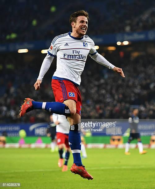 Nicolai Müller of Hamburg celebrates scoring his second goal during the Bundesliga match between Hamburger SV and Hertha BSC at Volksparkstadion on...