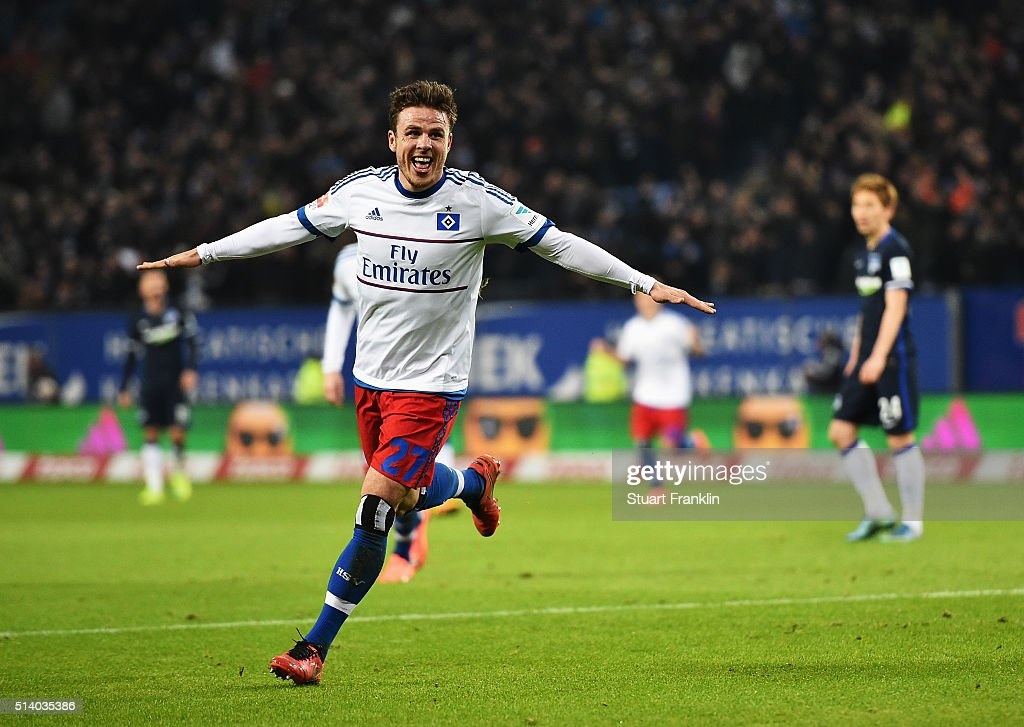 Nicolai Müller of Hamburg celebrates scoring his second goal during the Bundesliga match between Hamburger SV and Hertha BSC at Volksparkstadion on March 6, 2016 in Hamburg, Germany.