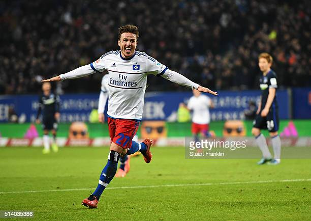 Nicolai Müller of Hamburg celebrates scoring his second goal during the Bundesliga match between Hamburger SV and Hertha BSC at Volksparkstadion on...