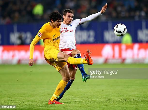 Nicolai Mueller of Hamburg and Jesus Vallejo of Frankfurt battle for the ball during the Bundesliga match between Hamburger SV and Eintracht...