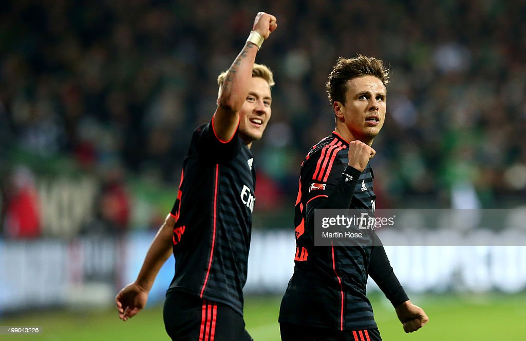 Nicolai Mueller of Hamburg celebrates after he scores the 3rd goal during the Bundesliga match between SV Werder Bremen and Hamburger SV at...