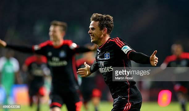 Nicolai Mueller of Hamburg celebrates after scoring the 3rd goal during the Bundesliga match between SV Werder Bremen and Hamburger SV at...