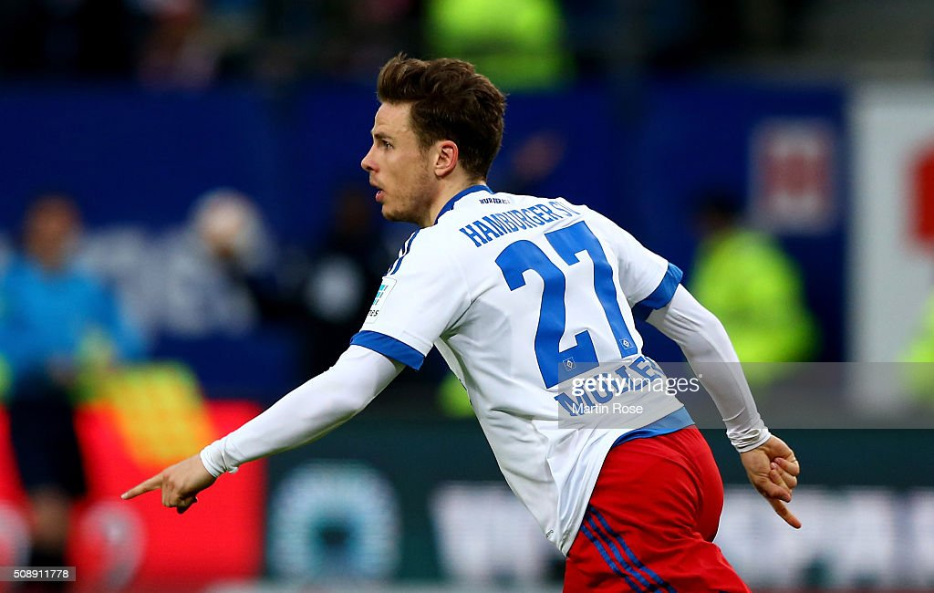<a gi-track='captionPersonalityLinkClicked' href=/galleries/search?phrase=Nicolai+Mueller&family=editorial&specificpeople=2344337 ng-click='$event.stopPropagation()'>Nicolai Mueller</a> of Hamburg celebrates after scoring the equalizing goal during the Bundesliga match between Hamburger SV and 1. FC Koeln at Volksparkstadion on February 7, 2016 in Hamburg, Germany.