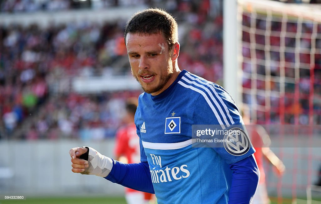 Nicolai Mueller of Hamburg reacts during the DFB Cup match between FSV Zwickau and Hamburger SV at Stadion Zwickau on August 22, 2016 in Zwickau, Germany.