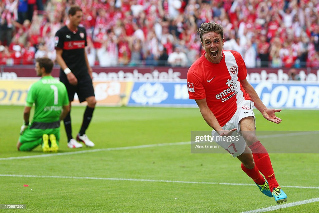 <a gi-track='captionPersonalityLinkClicked' href=/galleries/search?phrase=Nicolai+Mueller&family=editorial&specificpeople=2344337 ng-click='$event.stopPropagation()'>Nicolai Mueller</a> of Mainz celebrates his team's third goal during the Bundesliga match between 1. FSV Mainz 05 and VfB Stuttgart at Coface Arena on August 11, 2013 in Mainz, Germany.