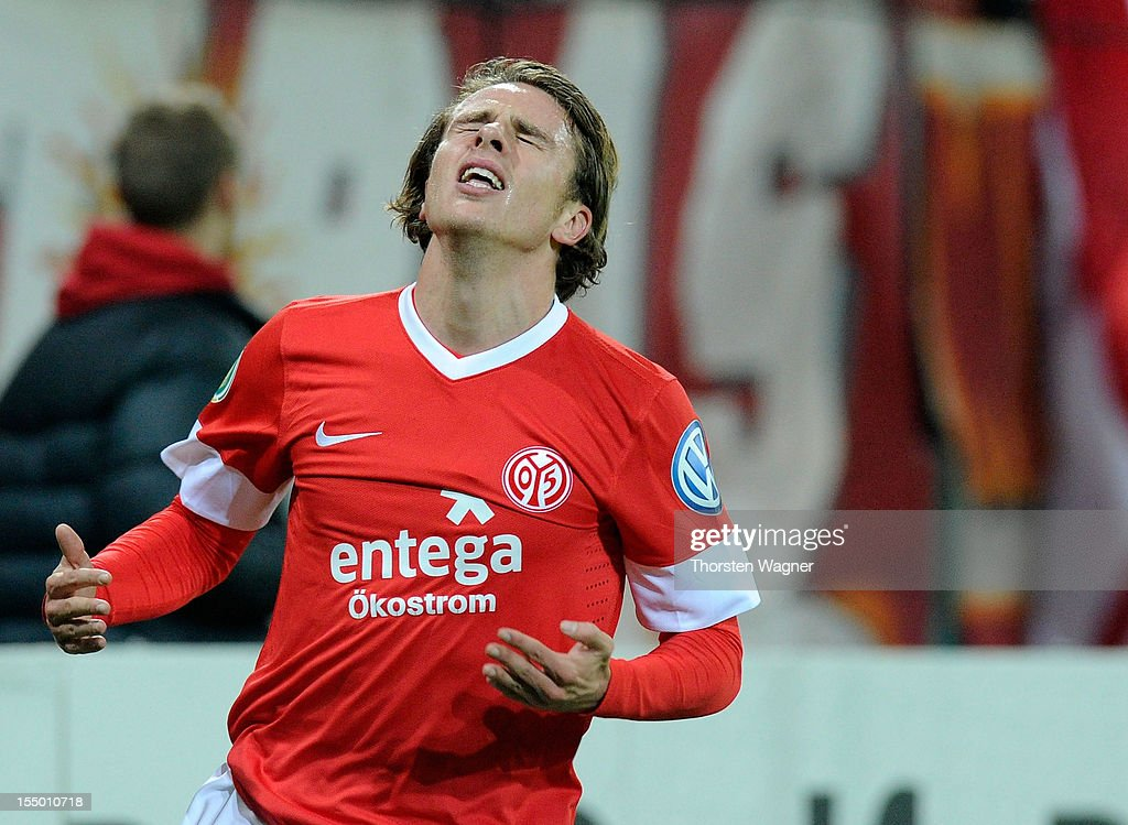 Nicolai Mueller of Mainz gestures after a forgiven chance during the DFB Cup second round match between FSV Mainz 05 and FC Erzgebirge Aue at Coface Arena on October 30, 2012 in Mainz, Germany.
