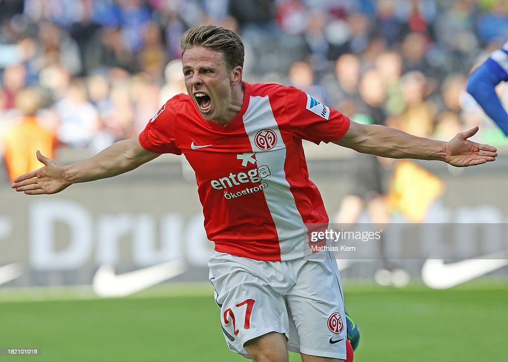 <a gi-track='captionPersonalityLinkClicked' href=/galleries/search?phrase=Nicolai+Mueller&family=editorial&specificpeople=2344337 ng-click='$event.stopPropagation()'>Nicolai Mueller</a> of Mainz jubilates after scoring the first goal during the Bundesliga match between Hertha BSC and 1.FSV Mainz 05 at Olympiastadion on September 28, 2013 in Berlin, Germany.