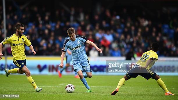Nicolai Poulsen of Randers FC controls the ball during the Danish Alka Superliga match between Randers FC and Brondby IF at AutoC Park on May 31 2015...