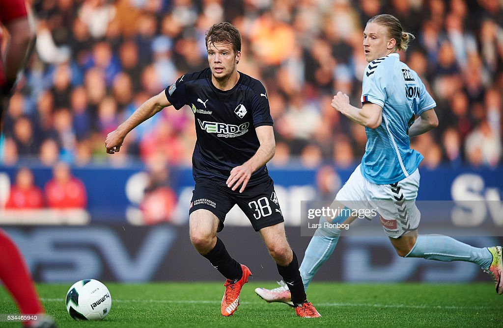 Nicolai Poulsen of Randers FC controls the ball during the Danish Alka Superliga match between Sonderjyske and Randers FC at Sydbank Park on May 26, 2016 in Haderslev, Denmark.