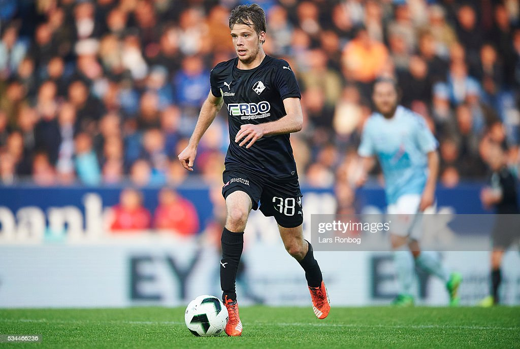 Nicolai Poulsen of Randers FC controls the ball during the Danish Alka Superliga match between Sonderjyske and Randers FC at Sydbank Park on May 26, 2016 in Haderslev, Denmark.