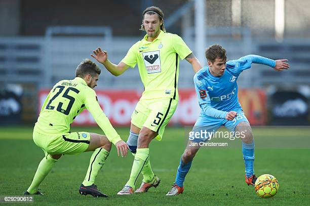 Nicolai Poulsen of Randers FC controls the ball during the Danish Alka Superliga match between Randers FC and Esbjerg fB at BioNutria Park Randers on...
