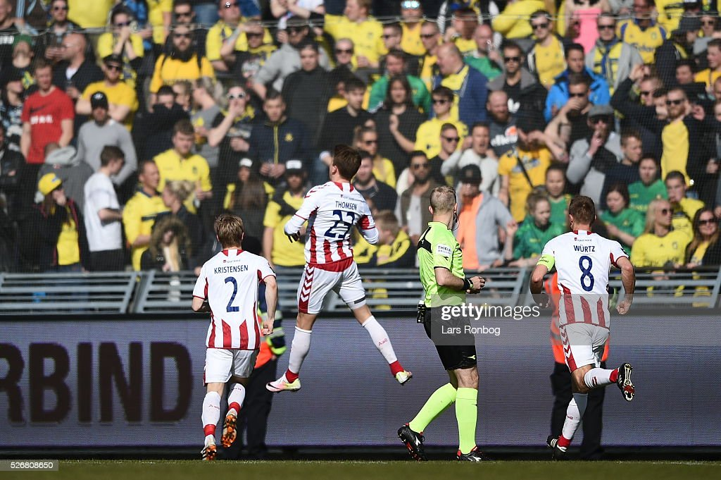 Action from the Danish Alka Superliga match between AaB Aalborg and Brondby IF at Nordjyske Arena on May 1, 2016 in Aalborg, Denmark.