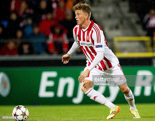 Nicolaj Thomsen of Aalborg BK in action during the UEFA Champions League Play off football match between Aalborg BK and Apoel FC at the Nordjyske...
