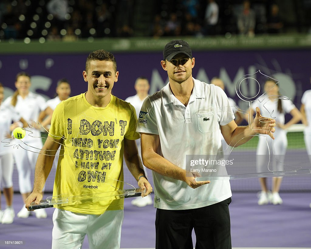 <a gi-track='captionPersonalityLinkClicked' href=/galleries/search?phrase=Nicolas+Almagro&family=editorial&specificpeople=553850 ng-click='$event.stopPropagation()'>Nicolas Almagro</a> and <a gi-track='captionPersonalityLinkClicked' href=/galleries/search?phrase=Andy+Roddick&family=editorial&specificpeople=167084 ng-click='$event.stopPropagation()'>Andy Roddick</a> participate in the inaugural Miami Tennis Cup at Crandon Park Tennis Center on December 2, 2012 in Key Biscayne, Florida.