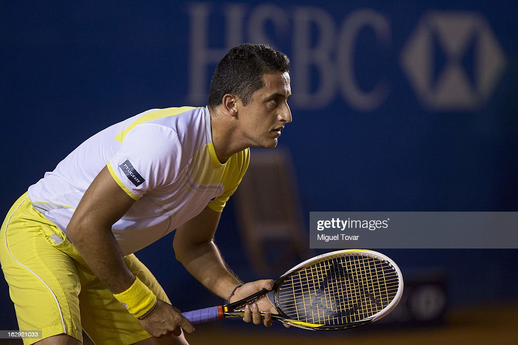 Nicolas Almagro from Spain in action during a tennis match against Horacio Zeballos from Argentina as part of the ATP Mexican Open Tennis at Pacific resort on February 28, 2013 in Acapulco, Mexico.