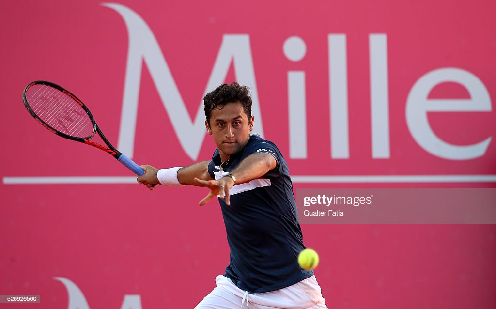 Nicolas Almagro from Spain in action during the singles final match between Pablo Carreno Busta from Spain and Nicolas Almagro from Spain for Millennium Estoril Open at Clube de Tenis do Estoril on May 1, 2016 in Estoril, Portugal.