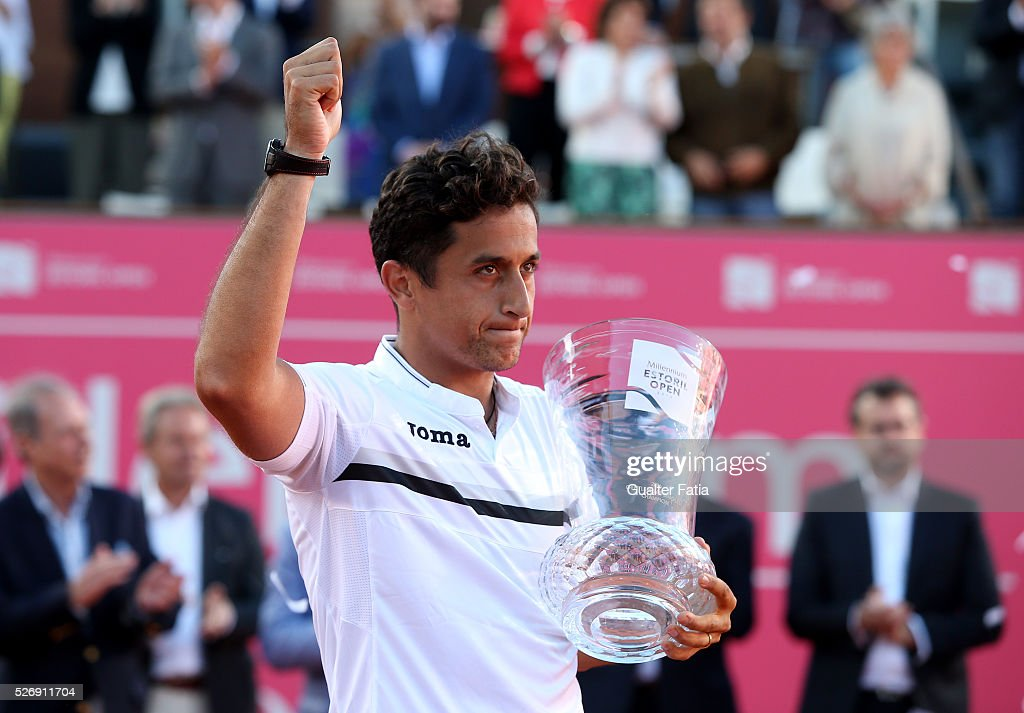 Nicolas Almagro from Spain with trophy after winning Millennium Estoril Open 2016's final at the end of the singles final match between Pablo Carreno Busta from Spain and Nicolas Almagro from Spain for Millennium Estoril Open at Clube de Tenis do Estoril on May 1, 2016 in Estoril, Portugal.