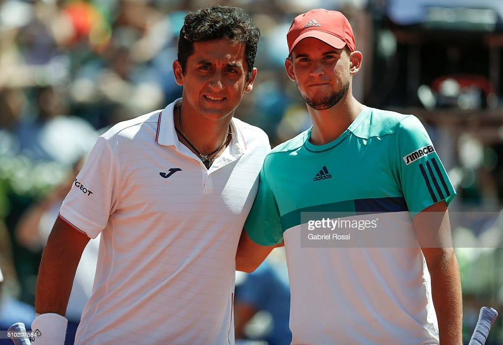 Nicolas Almagro of Spain and Dominic Thiem of Austria pose for a photo before a final match between Nicolas Almagro of Spain and Dominic Thiem of...