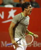 Nicolas Almagro of Spain celebrates a point during a tennis match between Nicolas Almagro and Jeremy Chardy as part of ATP Buenos Aires Copa Claro on...