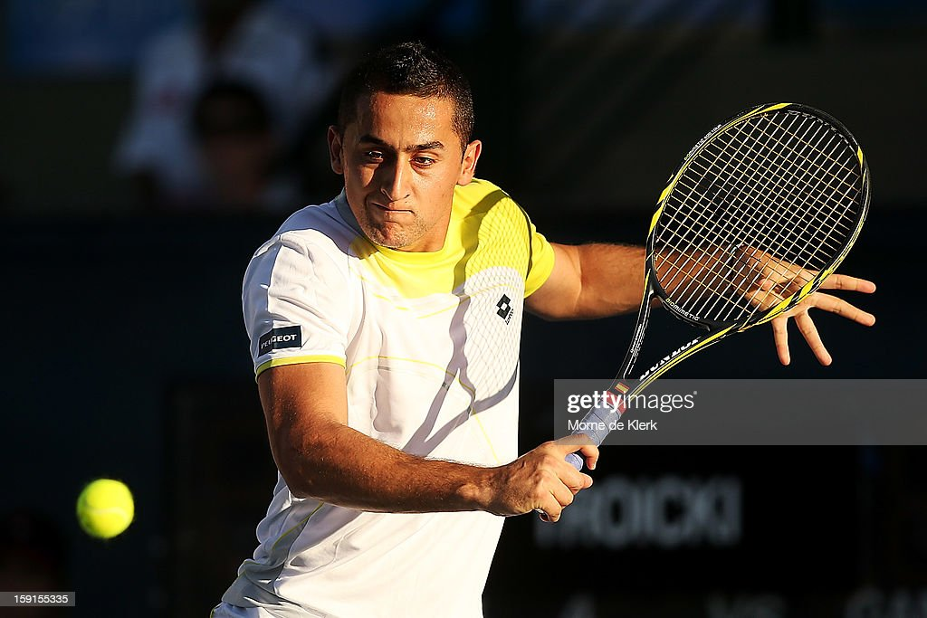 Nicolas Almagro of Spain competes during the World Tennis Challenge at Memorial Drive on January 9, 2013 in Adelaide, Australia.
