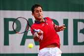 Nicolas Almagro of Spain hits a forehand during the Men's Singles third round match against David Goffin of Belgium on day seven of the 2016 French...