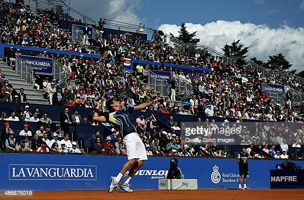 Nicolas Almagro of Spain in action against Rafael Nadal of Spain during day five of the ATP Barcelona Open Banc Sabadell at the Real Club de Tenis...