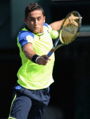 Nicolas Almagro of Spain in action during men's second round singles match against Horacio Zeballos of Argentina during day four of the Rakuten Open...